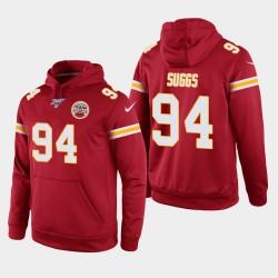 Kansas City Chiefs Hommes 94 Terrell Suggs 100e saison Jeu Hoodie - Rouge