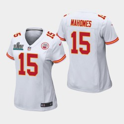 Chefs de Femmes Kansas City 15 Patrick Mahomes Super Bowl LIV jeu Jersey - Blanc