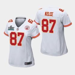 Chefs des femmes Kansas City 87 Travis Kelce Super Bowl LIV jeu Jersey - Blanc