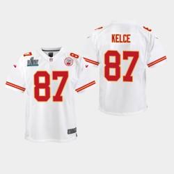 Jeunes Kansas City Chiefs 87 Travis Kelce Super Bowl LIV jeu Jersey - Blanc