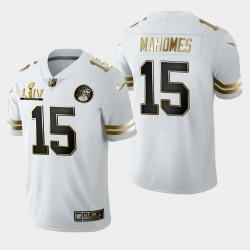 Kansas City Chiefs Hommes 15 Patrick Mahomes Super Bowl LIV Golden Edition Jersey - Blanc