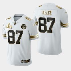 Kansas City Chiefs Hommes 87 Travis Kelce Super Bowl LIV Golden Edition Jersey - Blanc