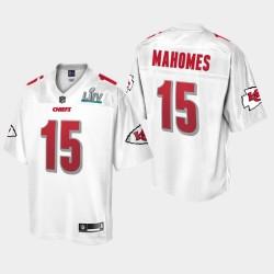 Ville Hommes Kansas Chiefs 15 Patrick Mahomes Super Bowl Jersey Champions LIV - Blanc