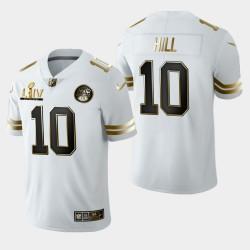 Kansas City Chiefs Hommes 10 Tyreek Hill Super Bowl LIV Golden Edition Jersey - Blanc