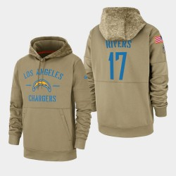 Philip Rivers Men Chargers Los Angeles 2019 Salut au service Sideline Therma Sweat à capuche - Tan