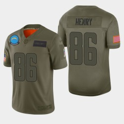 Chargeurs Los Angeles 86 hommes Hunter Henry 2019 Salut au service Camo Jersey limitée