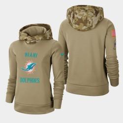 Miami Dolphins Women Khaki 2019 Salut au service Therma Pull à capuche