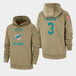 Rosen Josh Hommes Miami Dolphins 2019 Salut au service Sideline Therma Sweat à capuche - Tan