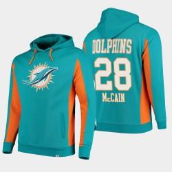 Fanatics Branded Hommes Miami Dolphins 28 Bobby McCain équipe Iconic Sweat à capuche - Aqua