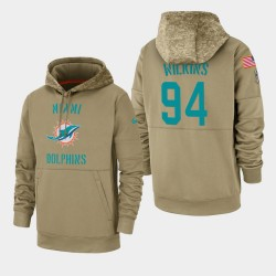 Wilkins Men Christian Miami Dolphins 2019 Salut au service Sideline Therma Sweat à capuche - Tan