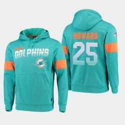 Hommes Miami Dolphins 25 Xavien Howard 100e saison Sideline équipe Logo Sweat à capuche - Aqua