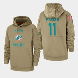 Hommes DeVante Parker Miami Dolphins 2019 Salut au service Sideline Therma Sweat à capuche - Tan