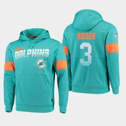 Hommes Miami Dolphins 3 Josh Rosen 100ème saison Sideline équipe Logo Sweat à capuche - Aqua