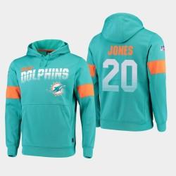 Hommes Miami Dolphins 20 Reshad Jones 100e saison Sideline équipe Logo Sweat à capuche - Aqua