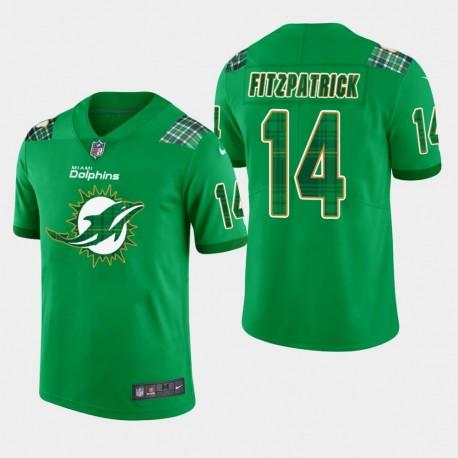 Hommes Miami Dolphins 14 Ryan Fitzpatrick de vapeur de la Saint-Patrick Intouchable Limited Jersey - Kelly vert