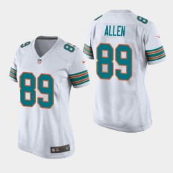 Miami Dolphins 89 femmes Dwayne Allen Throwback Jeu Jersey - Blanc