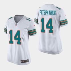 Femmes Miami Dolphins 14 Ryan Fitzpatrick Throwback jeu Jersey - Blanc