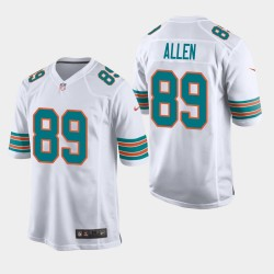 Miami Dolphins 89 hommes Dwayne Allen Throwback Jeu Jersey - Blanc