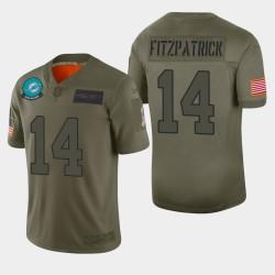 Miami Dolphins 14 hommes Ryan Fitzpatrick 2019 Salut au service Camo Jersey limitée