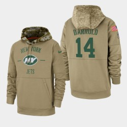 Jets hommes Sam Darnold 2019 Salut au service Sideline Therma Hoodie - Tan