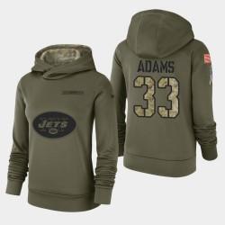 Femmes Jets de New York 33 Jamal Adams 2018 Salut à Service Performance Sweat à capuche - Olive