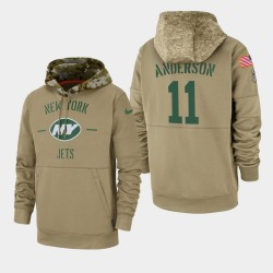 New York Jets pour hommes 11 Robby Anderson 2019 Salut au service Sideline Therma Hoodie - Tan
