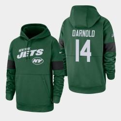 Jets de New York 14 hommes Sam Darnold 100e saison Sideline équipe Logo Sweat à capuche - vert