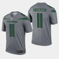 New York Jets 11 hommes Robby Anderson Inverted Legend Jersey - Gris