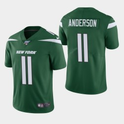New York Jets 11 hommes Robby Anderson 100e saison de vapeur Limited Jersey - Vert