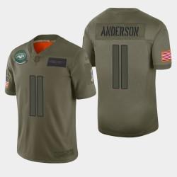 New York Jets pour hommes 11 Robby Anderson 2019 Salut au service Camo Jersey limitée