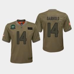 Jeunesse New York Jets 14 Sam Darnold 2019 Salut au service du jeu Jersey - Camo