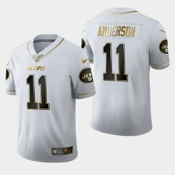 New York Jets 11 hommes Robby Anderson 100ème Saison Golden Edition Jersey - Blanc