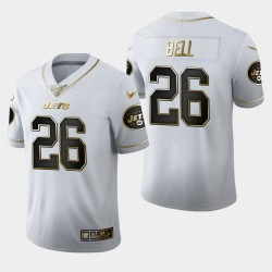 New York Jets 26 hommes Le'Veon Bell 100ème Saison Golden Edition Jersey - Blanc
