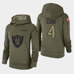 Femmes Las Vegas Raiders 4 Derek Carr 2018 Salut à Service Performance Sweat à capuche - Olive