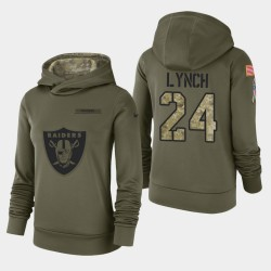 Femmes Las Vegas Raiders 24 Marshawn Lynch 2018 Salut à Service Performance Sweat à capuche - Olive