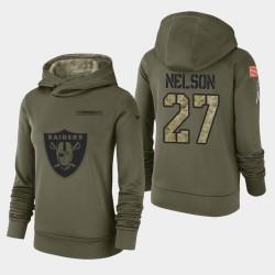 Femmes Las Vegas Raiders 27 Reggie Nelson 2018 Salut à Service Performance Sweat à capuche - Olive