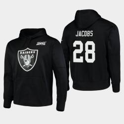 Las Vegas hommes Raiders 28 Josh Jacobs 100ème Saison Logo primaire Sweat à capuche - Noir