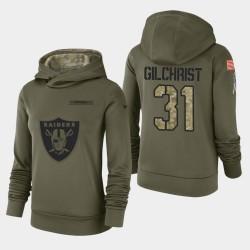 Femmes Las Vegas Raiders 31 Marcus Gilchrist 2018 Salut à Service Performance Sweat à capuche - Olive