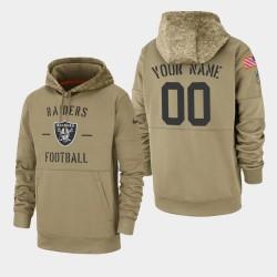 Hommes Las Vegas Raiders 00 personnalisé 2019 Salut au service Sideline Therma Hoodie - Tan