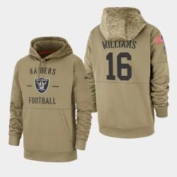 Las Vegas Raiders hommes 16 Tyrell Williams 2019 Salut au service Sideline Therma Hoodie - Tan