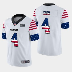 Hommes Las Vegas Raiders 4 Derek Carr Independence Day Americana Stars & Stripes Jersey - Blanc