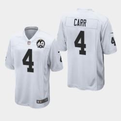Las Vegas hommes Raiders 4 Derek Carr 60e anniversaire du jeu Jersey - Blanc