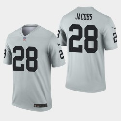 Las Vegas Raiders hommes 28 Josh Jacobs Inverted Legend Jersey - Argent