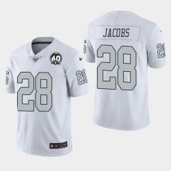 Las Vegas Raiders hommes 28 Josh Jacobs 60e anniversaire couleur Rush Jersey - Blanc
