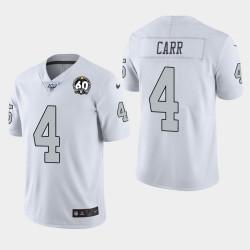 Las Vegas hommes Raiders 4 Derek Carr 60e anniversaire couleur Rush Jersey - Blanc