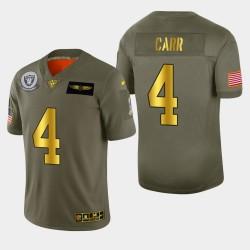 Las Vegas hommes Raiders 4 Derek Carr 2019 Salut au service métallique NFL 100 Jersey