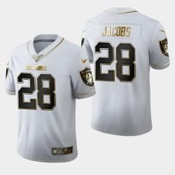 Raiders hommes Las Vegas 28 Josh Jacobs Saison 100 Golden Edition Jersey - Blanc