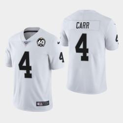 Las Vegas hommes Raiders 4 Derek Carr 60e anniversaire Jersey vapeur limitée - Blanc