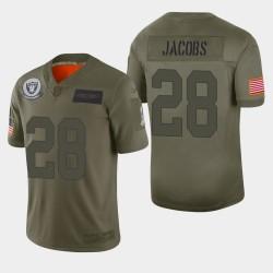 Las Vegas Raiders hommes 28 Josh Jacobs 2019 Salut au service Camo Jersey limitée