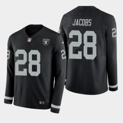 Las Vegas Raiders hommes 28 Josh Jacobs Therma jersey à manches longues - Noir